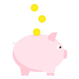 Pink piggy bank with three coins. Symbol of deposit and investment. Royalty Free Stock Photos