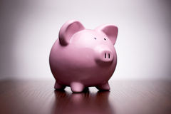 Pink piggy bank with vignetting Stock Photography