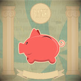 Pink piggy bank - vintage card Royalty Free Stock Photos