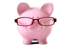 Pink piggy bank glasses isolated white background front view Royalty Free Stock Photo