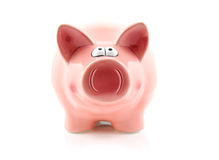 Pink piggy bank on white Stock Photos