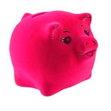 Pink piggy bank on a white Royalty Free Stock Images