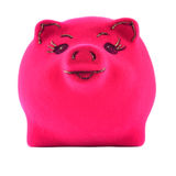 Pink piggy bank on a white Stock Image
