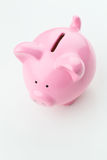 Pink Piggy Bank on White Background Royalty Free Stock Photo