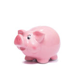 Pink piggy bank white isolated. Pink piggy bank to save money white isolated Royalty Free Stock Images