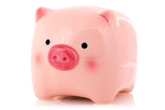 Pink piggy bank  on white Royalty Free Stock Images
