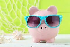 Pink piggy bank Stock Images