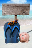 Pink piggy bank and wooden Signboard Stock Photography