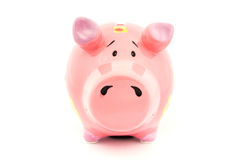 Pink Piggy bank with yellow flowers Royalty Free Stock Image
