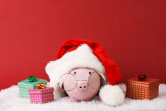Pink piggy box wiht glasses and santa hat with pompom and three gift boxes with ribbon standing on white snow on red background. Horizontal Royalty Free Stock Photos
