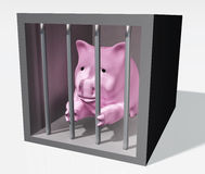 Pink piggy is jailed. A pink piggy bank with a sad expression keeps clinging to the bars of a prison box with his front paws and some sunlight illuminates the Stock Photography