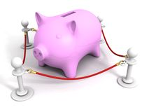 Pink piggy money bank behind of red rope barrier Stock Photos