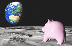 Pink piggy on the moon. From the moon surface a sad pink piggy in foreground is looking with homesickness the planet earth placed in background Stock Images