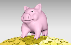 Pink piggy on a pile of coins Stock Photo