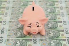 Piggy with money. Pink piggy on polish money as background Stock Photos
