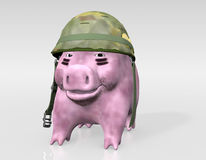 Pink piggy is ready to war Stock Image
