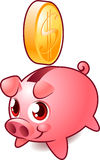 Pink piggy savings bank with golden coin Royalty Free Stock Photography