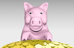 Pink piggy is smiling over a pile of coins Royalty Free Stock Image
