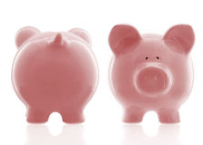 Pink Piggybank Front and Back Stock Image
