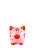 Pink Piggybank isolated on white Stock Images