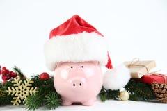Piggybank in santa hat. Pink piggybank in santa hat with fir tree branches on white background stock image