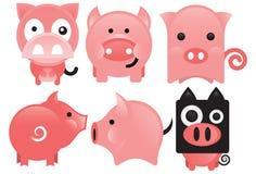 Pink Piglet. An illustration of a set of pink piglet Stock Photos