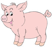 Pink piglet. Isolated clip-art / children's book illustration for your design Stock Photography