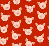 Funny piglets, seamless pattern, red, vector. Pink Piglet faces on red background. Vector flat pattern. Pigs are laughing, different emotions Stock Photos