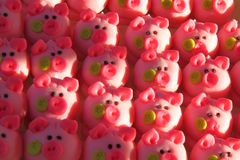 Pink pigs as marzipan deserts Royalty Free Stock Photography