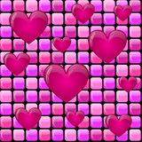 Pink pile with hearts Stock Images