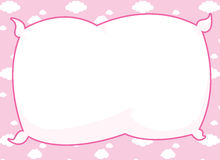 Pink Pillow Frame. Cartoon frame with pillow inset and pink cloud background Royalty Free Stock Photography