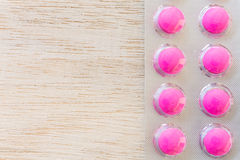 Pink pills in blister pack Royalty Free Stock Photography