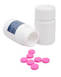 Pink Pills in Bottle Stock Photography
