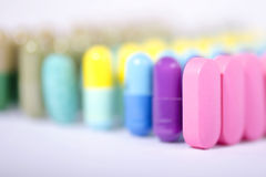 Pink pills closeup Royalty Free Stock Photo