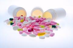 Pink pils. Super macro of medical pills Stock Photos