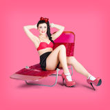 Pink pin-up model on summer vacation Royalty Free Stock Photography
