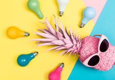 Pink pineapple and colored lightbulbs Stock Images