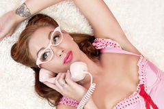 Pink Pinup Model Stock Photography