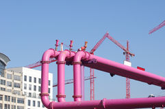 Pink pipelines over blue sky Royalty Free Stock Images