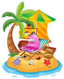 A pink pirate monster in the island vector illustration