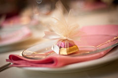 Pink Place Setting. Individual party place setting and favor Stock Image