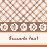 Pink plaid and flower card Royalty Free Stock Images