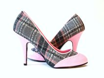 Pink and plaid High Heels. On a white background Stock Image
