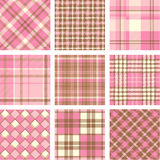 Pink plaid patterns set Royalty Free Stock Photography