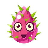 Pink Plant Bud With Spikes, Egg-Shaped Cute Fantastic Character With Big Eyes Vector Emoji Icon Royalty Free Stock Image
