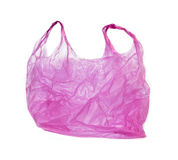 Pink plastic bag. On white background Stock Images