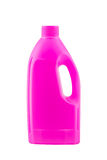 Pink plastic bleach bottle. Isolated on white background stock images