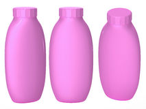 Pink plastic bottle packaging with clipping path for cosmatics a Royalty Free Stock Photography