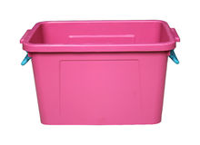 Pink plastic box isolated on white. With clippingpath Stock Photos