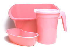 Pink plastic containers Royalty Free Stock Images
